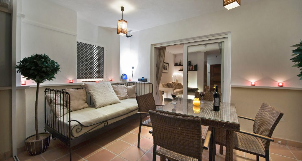 The downstairs terrace at the townhouse to rent on La Torre Golf Resort, Murcia.